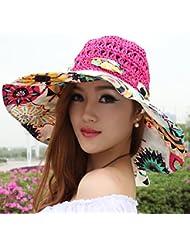 LKMNJ La Sra. Sun Sombreros Sombreros Sombrero de Paja plegable Software borde ancho grabado playa ,el rojo