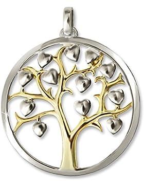 CLEVER SCHMUCK Silberner Anhänger teilvergoldet großer Lebensbaum Ø 29 mm mit Rand glatt und vielen kleinen Herzen...