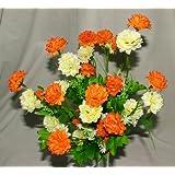 A1-Homes - Bouquet artificiale con mini crisantemi e foglie, comprende circa 35 fiori primaverili, per la casa, colore: Arancione/Crema