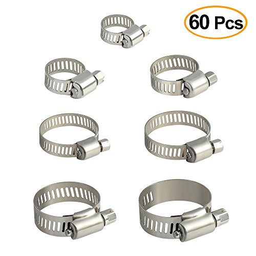 TUPARKA 60 clips de acero inoxidable para manguera de 10 – 38 mm de rango de rango de Gusano Drive Abrazadera de manguera 7 tamaños surtidos