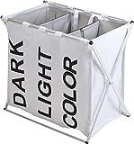 Wäschesammler 3 Fächer - weiß - Wäschesortierer Wäschekorb Wäschesack faltbar