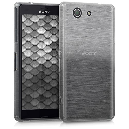 kwmobile Hülle TPU Silikon Case für > Sony Xperia Z3 Compact < mit Brushed Aluminium Farbverlauf Design - Handy Cover Schutzhülle in Anthrazit Silber