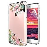 OKZone iPhone 6S/iPhone 6 Hülle [mit HD-Schutzfolie], [Blumen Series] Transparent Weiche Silikon Malerei Muster Hülle TPU Blühende Blumen Design Schutzhülle für Apple iPhone 6S/iPhone 6 (Grün)