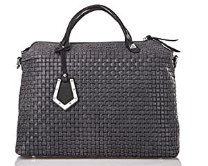 italienische Damen Handtasche Kingston aus echtem Leder in schiefer grau und schwarz, Made in Italy, Shopper Bag 37x30 cm