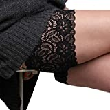 BARBARA Oberschenkelschoner | Anti Chafing Oberschenkelbänder Schutz | Hochwertige Lace Sexy Spitzen Bänder | Farbe: Schwarz Größe: 46