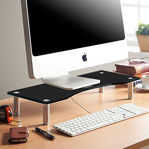 VonHaus Bildschirmständer Monitorständer für Monitore, Laptops & Fernsher | Höhenverstellbarer Schreibtischaufsatz | Schwarzes Glas, Füße aus Aluminium | 56 x 24cm Bildschirmerhöhung