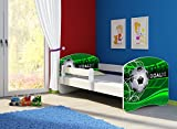 Clamaro 'Fantasia Weiß' 180 x 80 Kinderbett Set inkl. Matratze und Lattenrost, mit verstellbarem Rausfallschutz und Kantenschutzleisten, Design: 14 Fußball Toor
