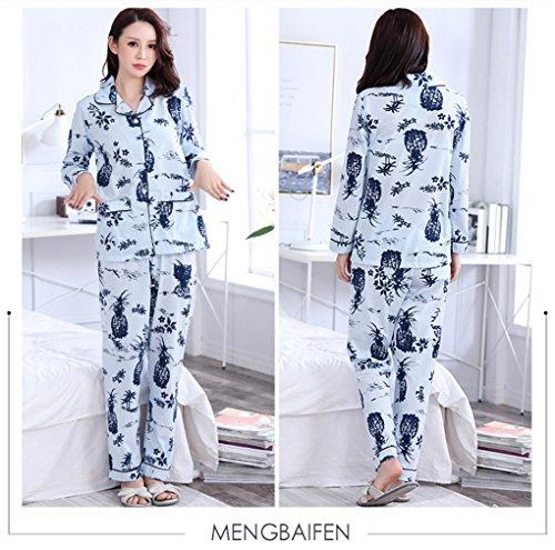 Naughtyspicy Pigiameria da donna a maniche lunghe con bottoni Top e pantaloni Set pigiama: design colorato Ananas blu / nero