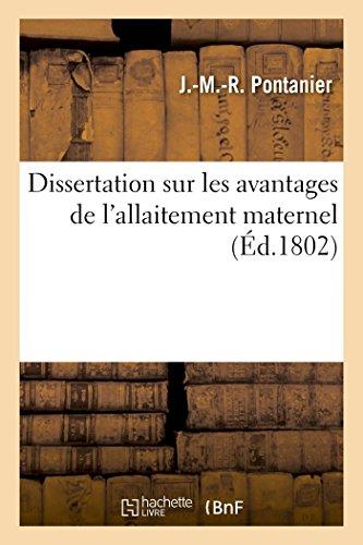 Dissertation sur les avantages de l'allaitement maternel por PONTANIER-J-M-R