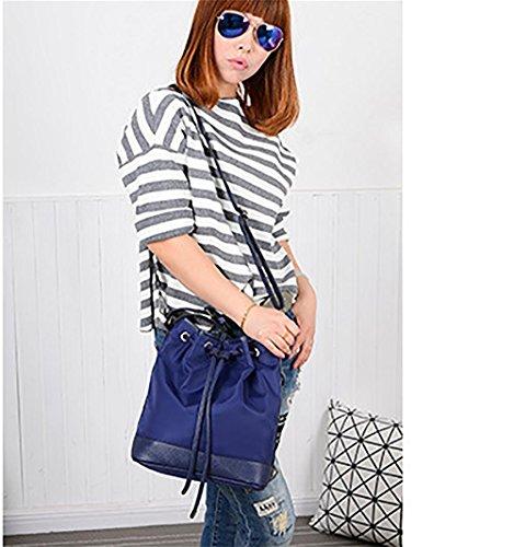 LINGE-A tracolla borsa a tracolla signora tempo libero tessuto Oxford , black Blue