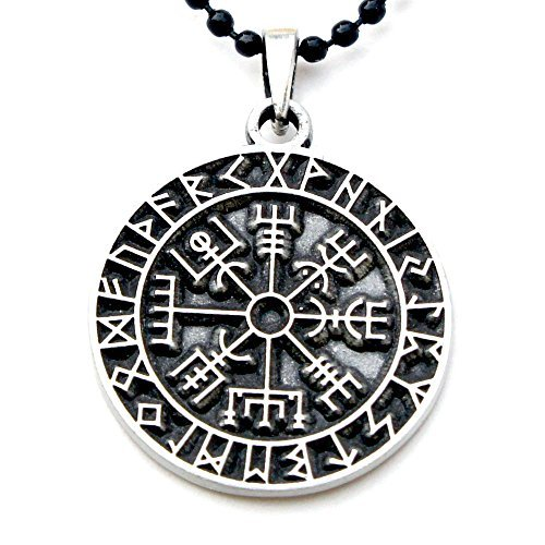Wegweiser Kompass Talisman Viking Schutz vegvisir älteren Futhark Anhänger w Schwarz Ball Kette von ohdeal4u