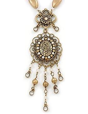 Filigraner Anhänger Oval Viktorianischer Stil Antik mit Perlen Kette goldfarben grob - 40 cm L/5 cm Verlängerung