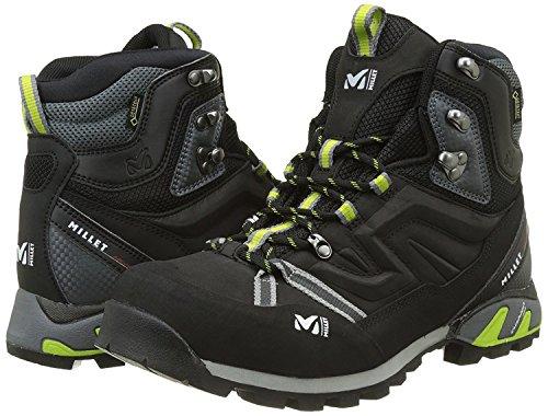 Millet–Scarpe da trekking Gore-Tex High strada GTX Charcoal/Acid Green Uomo–Uomo–Nero, nero Nero