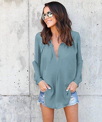 Hownew-X Damen Bluse Elegant Chiffon V-Ausschnitt Langarm Casual Oberteil Lose Langarmshirt V-Ausschnitt Vintage Tunika Hemd T-Shirt Hellgrün