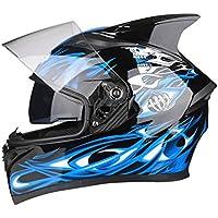 Qianliuk Hombre Mujer antifog Doble Lente Moto Casco Full Face Moto Casco Four Seasons Seguridad Motocross Cascos Cap 53-63cm