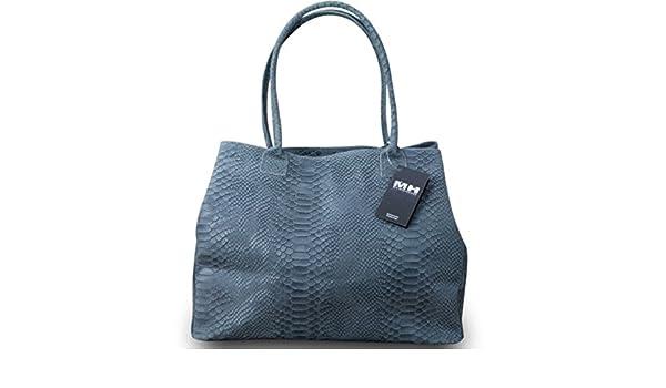 979d1794c5aae Made in Italy Luxus Designer Damen Schultertasche Shopper Bag Echt Leder  Schlangen Prägung Grau  Amazon.de  Koffer