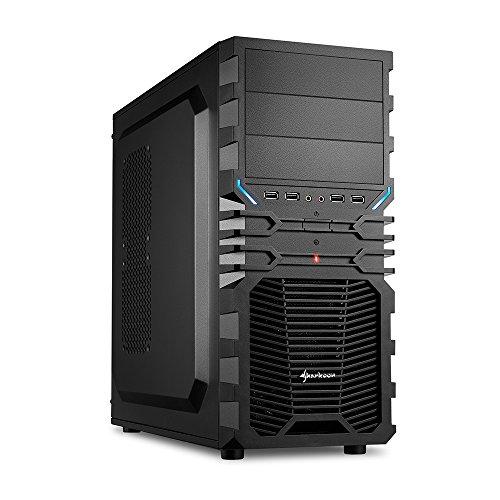 Sharkoon - Caja de ordenador (Midi-Tower, PC, ATX, Micro-ATX, Mini-ITX, 1 x 120 mm, 12 cm), color negro