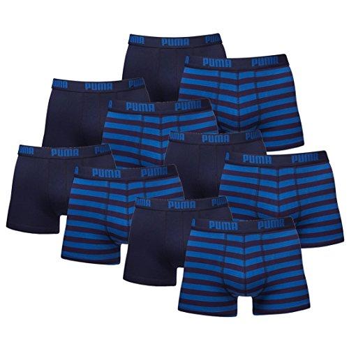 PUMA Herren Striped 1515 Boxer Boxershort Unterhose 10er Pack Blue