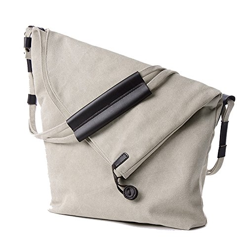 Herren und Damen groß Umhängetasche Canvas Schultertasche Leinwand Messenger Tasche Weiß