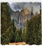 Abakuhaus Duschvorhang, Wald Landschaft Schwarzwald Tannenbaum in der Natur Berge Wasserfall Digital Foto Design Druck, Blickdicht aus Stoff inkl. 12 Ringen Umweltfreundlich Waschbar, 175 X 200 cm