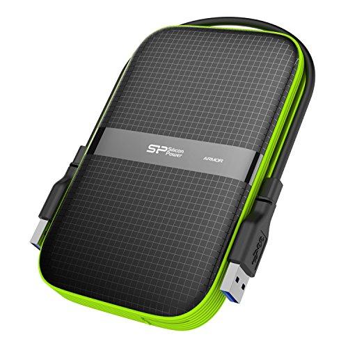 Silicon Power SP020TBPHDA60S3KAE Armor A60 2TB Military-Grade Stoßfest / Wasserbeständig USB 3.0 6,35 cm (2,5 Zoll) Tragbare externe Festplatte für PC und Mac schwarz