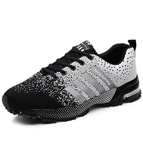 BEVEMON Männer Frau Sneaker Mode Mesh Sportschuh Leichte Casual Trail Running Schuh (EU46, Weiß und Schwarz)
