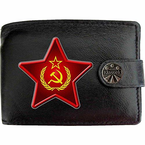 Wallet-bild-inhaber (Klassek Herren Geldbörse Portemonnaie Kommunismus echtem Leder schwarz Geschenk Präsent Metall Box)