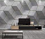 Papier Peint 3D Nordique Gris Géométrique Moderne Salon Chambre Wallpaper 3D Mural...