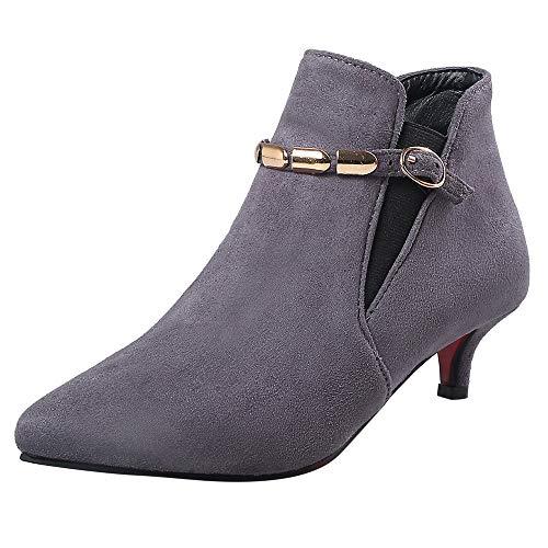 (MYMYG Damen Casual Ankle Boot Stiefel Spitz Schnalle Low Heel Platz Ferse dünne Fersen Stiefeletten Stylische Schnalle Walkingschuhe Freizeitschuhe Lederschuhe Wildleder)