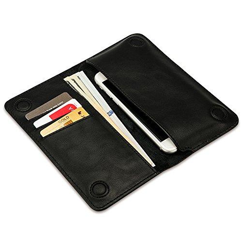 Jisoncase JS Classic Style handgefertigt Bifold Foilo Flip Leder Geldbörse Tasche, stylische Clutch mit 3Kartenfächer und magnetische Slim Cover für iPhone 66S Plus schwarz