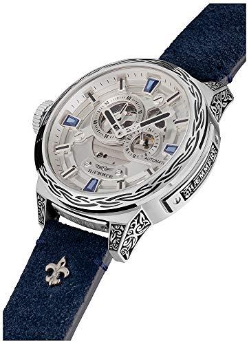HÆMMER Blue Horizon Damen-Automatikuhr aus Edelstahl | Exklusiv Limitierte Damen-Uhr mit Kalbsleder Armband | Luxus-Uhr mit Inkgraved veredeltem Gehäuse