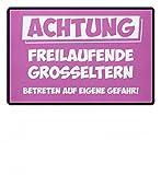 shirt-o-magic Hochwertige Fußmatte - Achtung Freilaufende Grosseltern - Geschenk Oma Opa Groß-Vater Groß-Mutter