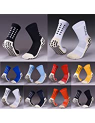 Fox Grip Sox Anti Slip Football Socks Low Calf Non Slip Cushion Crew Sports Grip Socks with Gripping Rubber Pads for Football, Basketball, Soccer, Walking, Running Colour Black, White, Red, Sky, Royal, Navy, Blue, Yellow & Orange to fit UK size 5.5 to 11