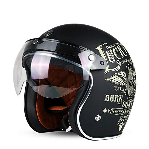 Berrd Casco moto Retro aperto Motocross Motocross Jet Casco retrò Casco moto Volante con visiera W visiera XXL