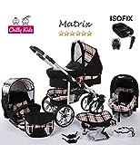 Chilly Kids Matrix II 4 in 1 carrozzina passeggino combinato (seggiolino per auto, base ISOFIX, parapioggia, zanzariera, ruote girevoli, 62 colori) 47 nero & quadrettato