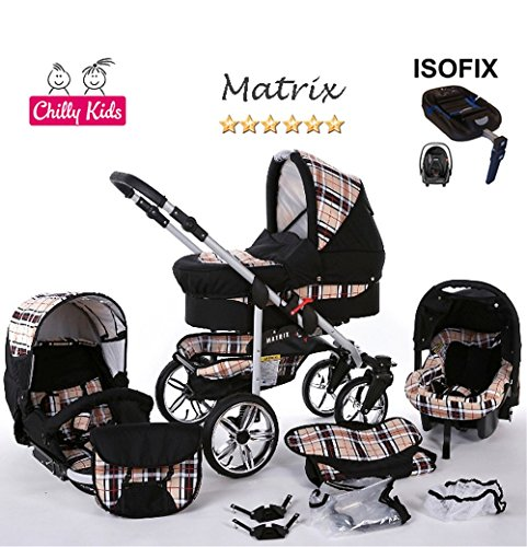 Chilly Kids Matrix II Kinderwagen Safety-Set (Autositz & ISOFIX Basis, Regenschutz, Moskitonetz, Schwenkräder) 47 Schwarz & Karo