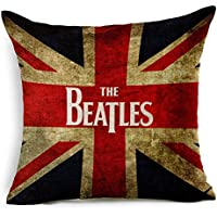 SilkCrane Funda de Cojín, The Beatles UK Flag Cotton Linen Decorative Throw Pillow Case Cushion