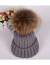 Fox Real URSFUR Raccoon Fur Pom Pom invierno mujer Knit Beanie Hat Bobble Caps gris