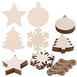 Pllieay -  Rodajas de madera con forma de copo de nieve redondo, estrella, árbol de Navidad y cordel de yute para manualidades de niños, adornos de árbol de Navidad, para colgar, 4 estilos, 40 piezas
