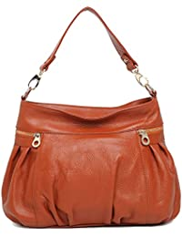Hereby Kuer(Tm)Womens Leather Tote Top-Handle Shoulder Bag Cross Body Handbag Satchel Purse (Sorrel)