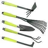 COM-FOUR® Set 5 attrezzi da giardino con manico: trapiantatoio, rastrello, zappetta tridente, coltivatore, rastrello per foglie