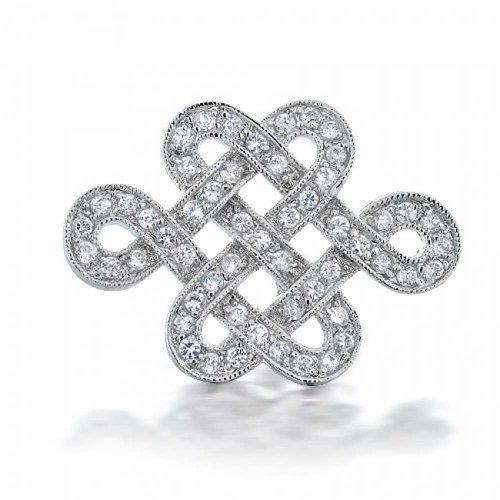 Bling Jewelry Ewige Liebe Keltischen Knotenarbeit Zirkonia Ebnen Cz Hochzeit Brosche Pin Für Damen Messing Rhodiniert 1.2 Zoll