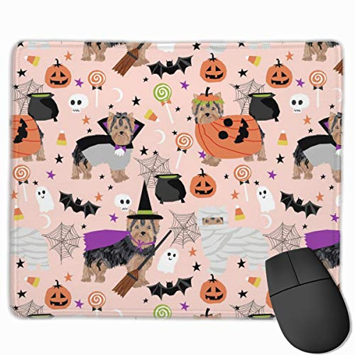 Yorkshire Terrier Yorkie Halloween Costumes Cute Dog Fall Autumn Pink Mousepad 18x22 cm