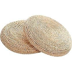 Zafu en paille, Yoga, Coussin de méditation, design japonais, rembourrage ouate de soie, Corn Peel, 45*45