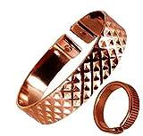The Online Bazaar Con Estilo Abollada Cuadros Diseño Cobre Magnético Banda Con Acabado Magnético Cobre Anillo combi set de regalo - MEDIUM RING SIZE: 19-21mm