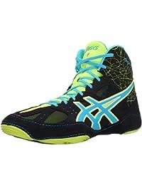 ASICS Zapato de lucha Cael V6.0 para hombre, negro / azul at¨®mico / amarillo intermitente, 7 M de EE. UU.