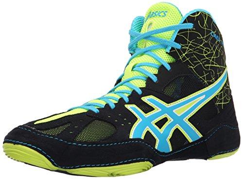 ASICS Men's Cael V6.0 Wrestling Shoe, Black/Atomic Blue/Flash Yellow, 11.5 M US (Kobe 6 Basketball-schuhe)