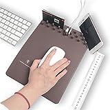 OWIKAR - Alfombrilla de ratón con cargador inalámbrico, multifuncional, para almacenamiento de carga inalámbrica, alfombrilla antideslizante, organizador de escritorio, soporte de teléfono para iPhone X, iPhone 8/8 Plus, Samsung Galaxy S8