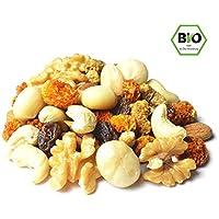 Luxus Bio Studentenfutter / Professorenfutter 1kg ohne Zucker mit hochwertigen Nüssen und Beeren, ohne billige Rosinen, ohne Erdnüsse und ohne Haselnüsse, nicht geröstet und nicht gesalzen, vegan, naturbelassen