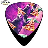 Classic Funny Space Sloth With Pizza And Turtle Design Guitar Picks (12 Pack)